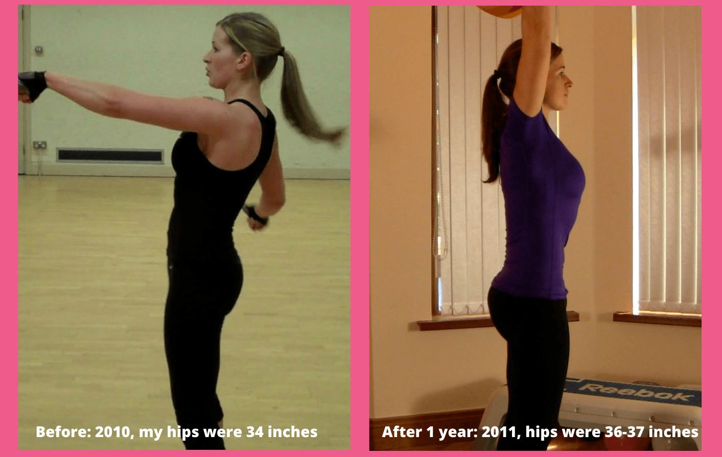 Two photos side by side showing a woman's body in a profile view to illustration glute growth after hip thrusts. Before, hips were 34 inches. After 1 year, hips were 36-37 inches and posture is much stronger