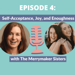 Thumbnail photo with Marianne Kane and the Merrymaker Sisters with a microphone icon to depict the podcast