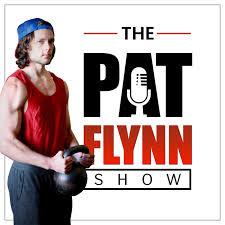Pat Flynn Show Thumbnail with Pat Flynn wearing a blue cap backward, and holding a russian kettlebell by the horns in a standing biceps curl position